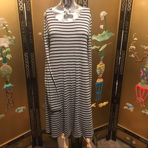 Large gray striped long sleeve dress